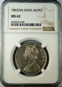 India 1862 M Rupee Rare Madras Mint NGC MS62