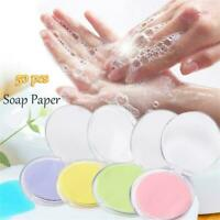 50Pcs Disposable Boxed Soap Paper Portable Travel Hand Washing Scented Sheets