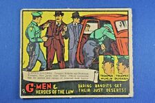 1936 Gum G-Men & Heroes of The Law - #9 Daring Bandits... Good Condition