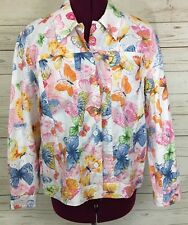 Alfred Dunner Butterfly Floral Eyelet Lightweight Cotton Jacket Size 16 Petite
