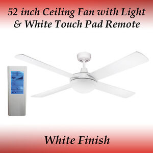 Fias Genesis 52 inch White Ceiling Fan with Light and White Touch Pad Remote