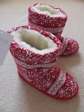BNWT Ragazze Little White Company Rosso Bianco Fairisle Pantofola Stivali Taglia UK 3-4