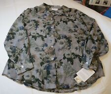 8bb3b22d6beb77 Tess Womens Long Sleeve Button Up Silk Shirt M Grey Floral 900470 Sheer NWT
