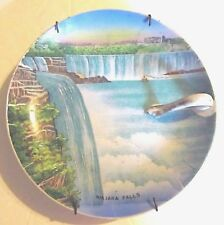 Vintage Original Art Hand Painted Niagara Falls Plate w Handle Made in Japan