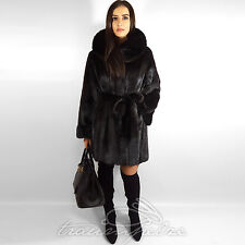 Saga Mink fur coat visón abrigo chaqueta abrigo vison capucha visone норка 40 42 L XL