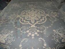 #417 antique NET LACE & BATTENBURG design Double ?? bedspread 50'' across top