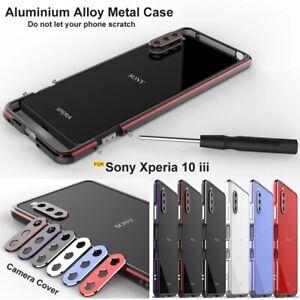 For Sony Xperia 10 III / 1 III Luxury Metal Aluminum Bumper Frame Back Cover