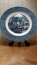 "Vintage Royal China Currier & Ives The Old Grist Mill 10"" Dinner Plate Ironstone"