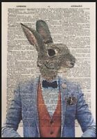 Hare Print Vintage Dictionary Page Wall Art Picture Animal In Clothes Rabbit