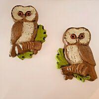 Vintage Pair Resin Owls HODA 1979 #4570 L & R Wall Hangings Decor Retro
