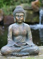 Garden Ornament Sitting Buddha Bronze Stone Zen Effect Outdoor Indoor Statue
