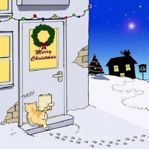 Funny Christmas card ginger cat flap drunk pissed