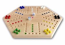 "Maple Wood Hand-Painted 16"" Aggravation Board Game, Double-Sided"