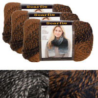 3pk Lion Brand Scarfie Acrylic & Wool Yarn Bulky #5 Knitting Crochet Skeins Soft