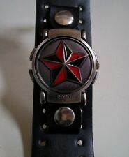 Men's leather band biker 5 point star dial flip wear as wrist watch or bracelet