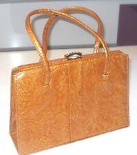 Vintage 1950s Interwainer Metalic Bronze Patent Leather Grace Kelly Handbag