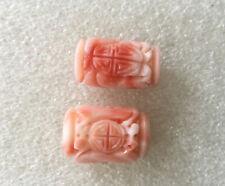Coral Pr Of Beads. 8.7 Grams. Vintage Chinese Angel Skin Carved Shou