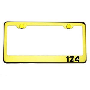 Gold Chrome License Plate Frame 124 Laser Engraved Metal Screw Cap