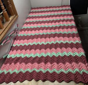 Vintage Pink Multi Zig Zag Afghan Crochet Knitted Blanket Quilt Handmade 68x44