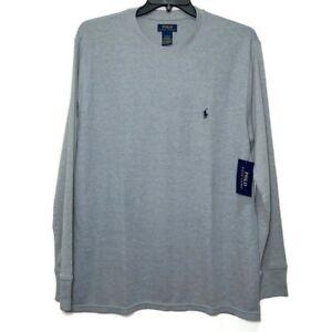 Polo Ralph Lauren Mens Size 2XL Gray Grey Waffle Knit Long Sleeve Shirt Crew