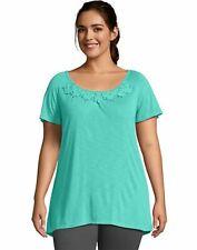 Women's Tunic Just My Size Short Sleeve Slub Jersey Crochet Trim Plus Size OJ247