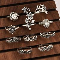 Cheap 10Pcs Boho Women Vintage Lotus Crystal Hollow Out Finger Ring Set Jewelry