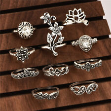 Cheap 10Pcs Boho Women Vintage Lotus Crystal Hollow Out Finger Ring Set Jewelry