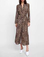 Fashion Women's Leopard Long Sleeve Waist Dress Coat Jacket Overcoat Outwear