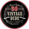 """8 x Vintage Dude 50th 7"""" Plates Mens Birthday Tableware Supplies Adult Party 50"""