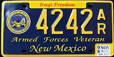 "NEW MEXICO "" IRAQI FREEDOM US ARMY VETERAN "" NM Military Specialty License Plate"
