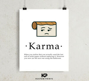 Karma Definition Print Toilet Roll Paper Funny Humour Wall Poster Word Art Decor