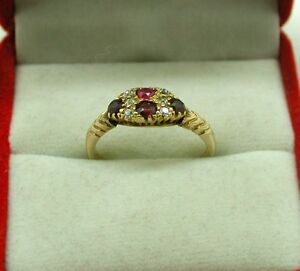 Victorian Beautiful 18ct Rose Gold Ruby And Diamond Ring