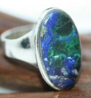 Vintage Mexican 925 Sterling Silver Inlaid Oval Blue Azurite Inlay Ring Sz 7.25