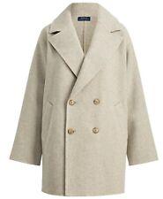 Women's Polo Ralph Lauren Grey Double Breasted Wool Pea Coat Jacket New $598