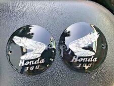 Honda Dream C76 C77 C78 CA77 CB77 CL77 L/R Fuel Tank Badges Emblem Silver NEW