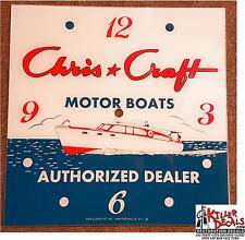 "15"" SQ CHRIS CRAFT BOATS AUTHORIZED DEALER SALES MARINE GLASS FACE PAM CLOCK"