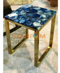 "16"" Blue Agate Coffee Table Top With 18"" Steel Stand Designer Bedroom Decor A106"