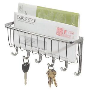 Wall Mounted Chrome Letter & Key Rack Mail Organiser Holder Silver Metal Decor