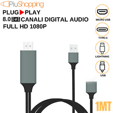 CAVO ADATTATORE VIDEO FULL HD USB HDMI HDTV TV PER IPHONE SAMSUNG HUAWEI XIAOMI