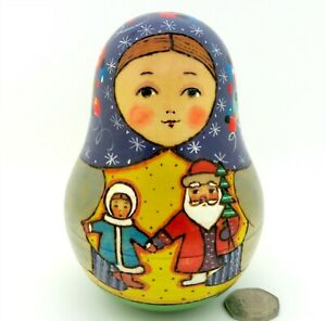 Father Frost & Snow Maiden ROLY POLY SANTA Babushka Russian Wobbly doll RYABOVA