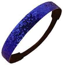 12-GLITTER HEADBANDS Sparkly Stretch Headband Softball Sports Blue Sparkle