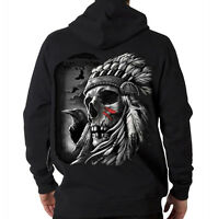 Native American Indian Chief Skull Crows Spirit Hooded Sweatshirt Hoodie