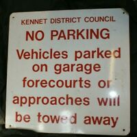 Large steel with vinyl lettering warning sign - Kennet Council