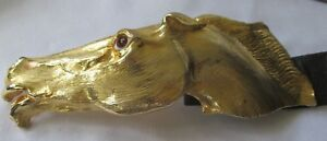 LARGE CHRISTOPHER ROSS THOROUGHBRED HORSE BELT BUCKLE IN 24K GOLD +BROWN CR BELT