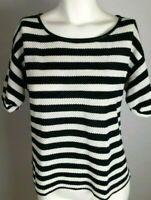 ANN TAYLOR Women's Top Medium Navy Blue White Striped Short Sleeve Button Back