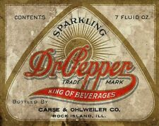 SPARKLING DR PEPPER KING OF BEVERAGES HEAVY DUTY USA MADE METAL ADVERTISING SIGN
