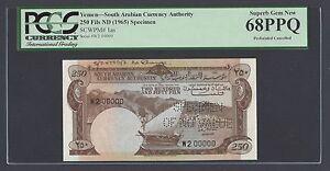 Yemen South Arabia 250 Fils 1965 P1as Specimen Perforated Uncirculated Grade 68