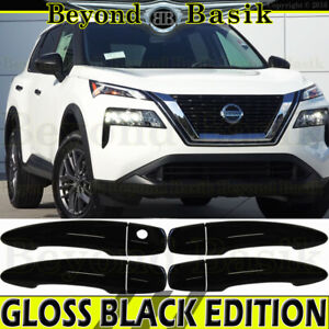 For 2021 Nissan Rogue GLOSS BLACK Door Handle COVERS W/O SMART Keyholes