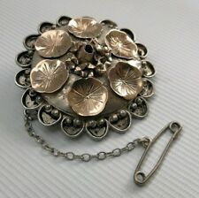 Art Nouveau Sweetheart Floral Pin Brooch Vtg Victorian Solid Silver & Gold Gilt
