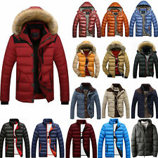 Winter Men Puffer Bubble Hooded Coat Warm Quilted Padded Jacket Zip Outwear Tops